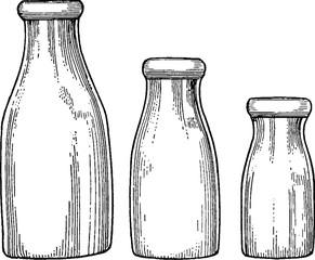 Vintage image milk bottles