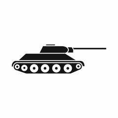 Tank icon in simple style isolated on white background. Military equipment symbol