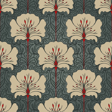 Seamless pattern with beige flowers on dark green background