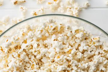 Popcorn in glass bowl.