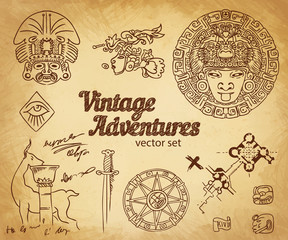 Vintage Adventures: vector set.