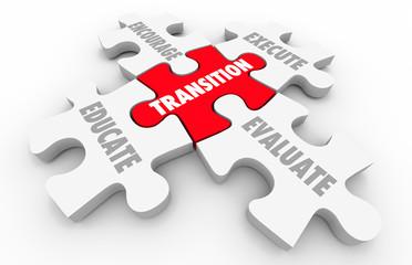 Transition Leading Change Execute Evaluate Puzzle Pieces 3d Illu