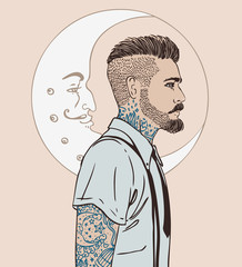 Portrait of stylish fashion bearded man