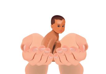 bambino di colore accovacciato