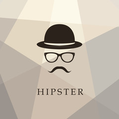 Vintage silhouette of bowler, mustaches, glasses. Vector illustration of gentleman or hipster. Logo template of gentleman Club.