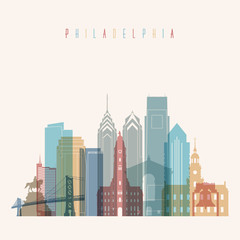 Transparent styled Philadelphia state Pennsylvania skyline detailed silhouette. Trendy vector illustration.