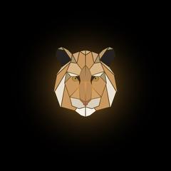 Tiger head polygonal vector animal illustration. Polygonal tiger graphic design.