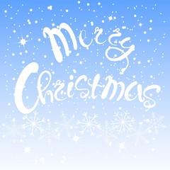 White lettering Merry Christmas on blue sky background, white snow-flakes, vector illustration