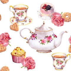 Teatime - tea pot, teacup, cakes, flowers. Repeating pattern. Watercolour