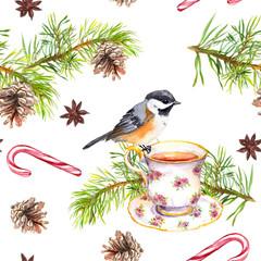 Bird, tea cup, pine tree branch. Repeating pattern. Watercolor