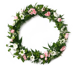 Beautiful pink and white flower wreath isolated