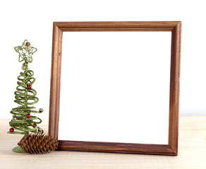 Christmas holiday mock up with tree and pine cone frame. empty space