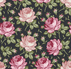 Roses. Seamless classic pattern. Beautiful pink red flowers. Vintage background realistic blooming flowers. Drawing engraving textile. Freehand. Wallpaper baroque. Vector Victorian style Illustration.