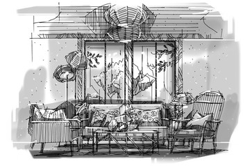 sketch perspective stripes living, black and white interior design.