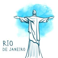 Rio De Janeiro and Christ the Redeemer, Brazil. World famous lan