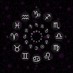 accurate horoscope - whimsical zodiac signs with planets on dark background