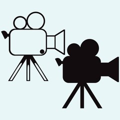 Camcorder. Isolated on blue background. Vector silhouettes
