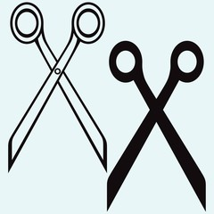 Scissors with cut lines. Isolated on blue background. Vector silhouettes