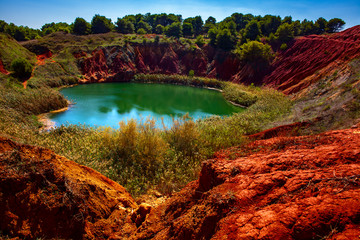 Bauxite Quarry with Lake at Otranto, Apulia Wall mural