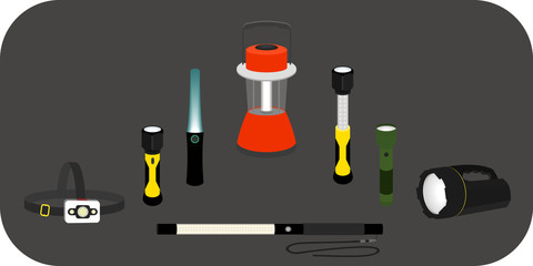 vector illustration various flashlight - headlamp, handlamp, tablelamp