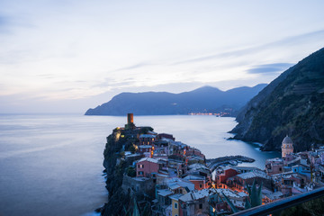 View of Vernazza village small town in Cinque terre situated is valley of La Spezia , Italy
