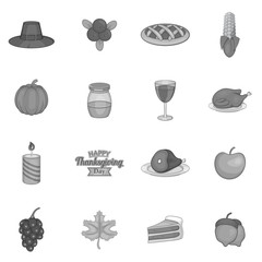 Thanksgiving icons set in black monochrome style. Autumn elements set collection vector illustration