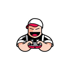 Gamers Character Illustration Logo Vector Image