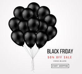 Black Friday Sale Poster with Dark Balloons Bunch