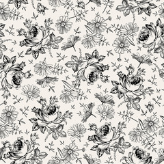 Seamless classic pattern. Beautiful isolated flowers textile. Vintage background realistic blooming floral. Rose chamomile Drawing engraving. Wallpaper baroque Vector victorian style Illustration.