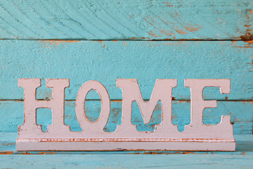 image of vintage wooden sign decoration on wooden table.