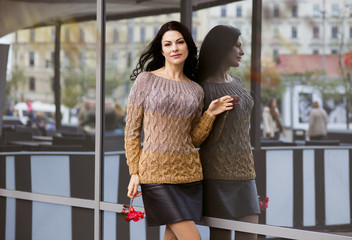 Woman in knitted pullover ,autumn life