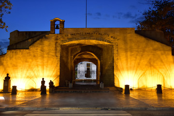 Santo Domingo, Dominican Republic. View of Puerta Del Conde in the night, Count Door.