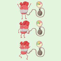 cartoon heart character and tonometer, pressure measurement