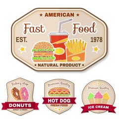 Vintage fast food badge, banner or logo emblem.