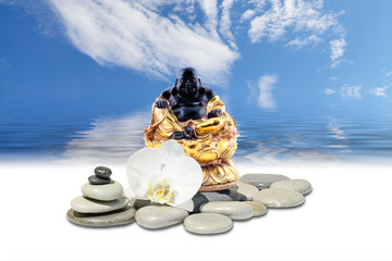 Feng-Shui background-Laughing Buddha or Budai,zen stone,white orchid flowers and sky reflected in water