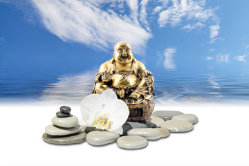 Laughing Buddha,zen stone,white orchid flowers and sky reflected in water