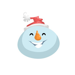 Cute snowmen in hat head emotion vector avatar. Cartoon  expression isolated face character. Simple gradient mascot head.