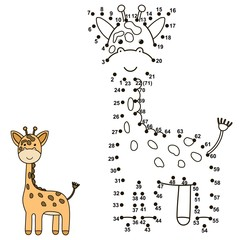 Connect the dots to draw a cute giraffe and color it