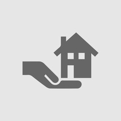 House in hand vector logo icon. Real estate simple isolated sign.
