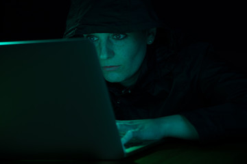 female Hacker on Computer 1