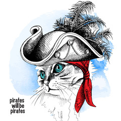 Door stickers Hand drawn Sketch of animals Image cat portrait in a pirate hat and bandana on blue background. Vector illustration.