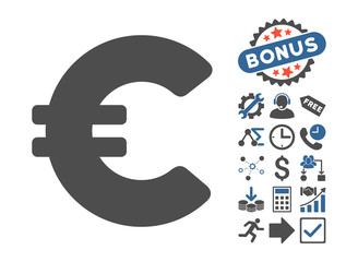 Euro pictograph with bonus elements. Vector illustration style is flat iconic bicolor symbols, cobalt and gray colors, white background.