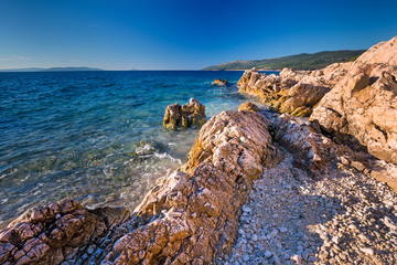 Amazing beach with cristal clean sea water with pine trees, Adriatic Sea, Istria, Croatia