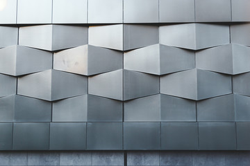 Abstract black metal wall architectural pattern