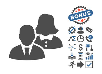 People icon with bonus clip art. Vector illustration style is flat iconic bicolor symbols, cobalt and gray colors, white background.
