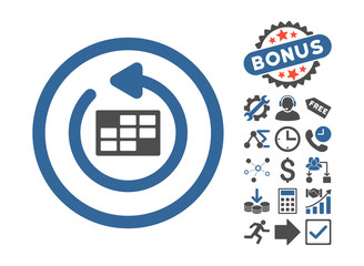 Refresh Calendar pictograph with bonus images. Vector illustration style is flat iconic bicolor symbols, cobalt and gray colors, white background.