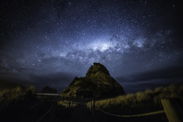 Canvas Prints New Zealand Milky way over Piha beach Auckland New Zealand