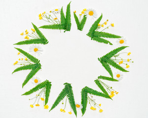 Wreath of chamomile ranunculus and leaves of fern