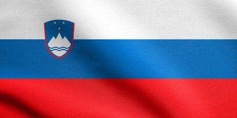 Flag of Slovenia waving with fabric texture