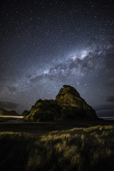 Milky way over Piha beach Auckland New Zealand